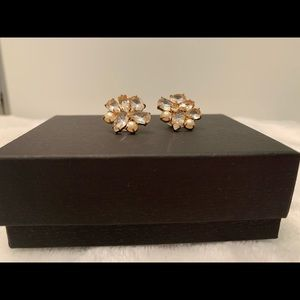 Anne Klein gold, pearl and crystal earrings